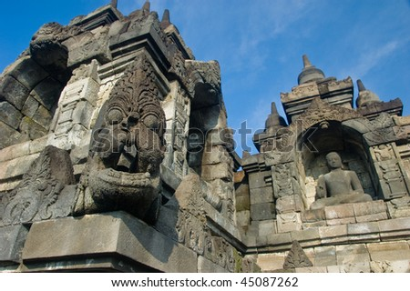 Statues and carvings at Borobudur
