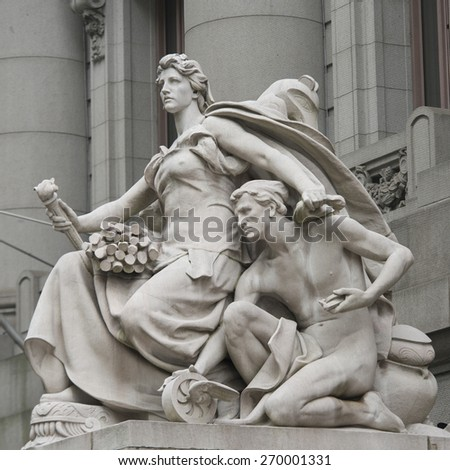 Statues at Alexander Hamilton U.S. Custom House, Manhattan, New York City, New York State, USA - stock photo