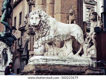 Statues at Loggia Dei Lanzi in front of Palazzo Vecchio in Florence. Italy - stock photo