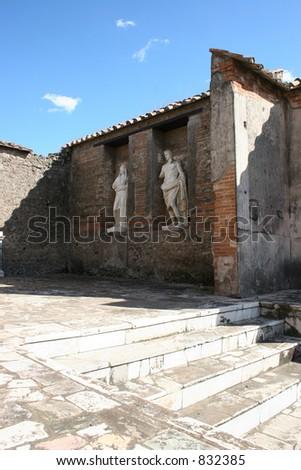Statues at Pompeii, Italy. - stock photo