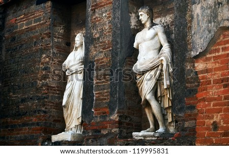 Statues at the ancient Roman city of Pompeii, which was destroyed and buried during the eruption of Mount Vesuvius in 79 AD - stock photo
