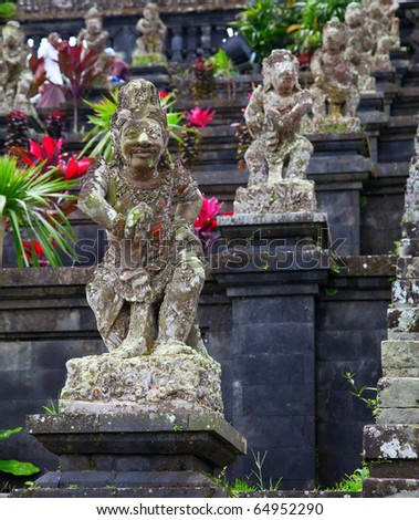 Statues at the Mother Temple of Besakih. Largest hindu temple of Bali - stock photo