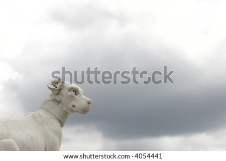 Statues dogs in the French palace - stock photo