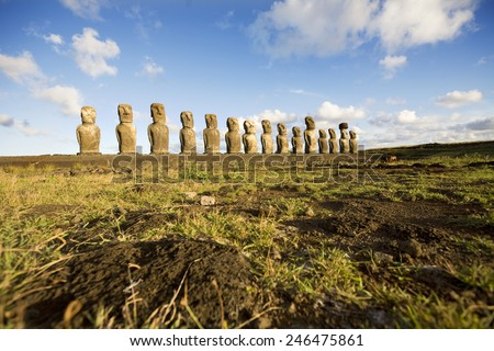 statues easter island - stock photo