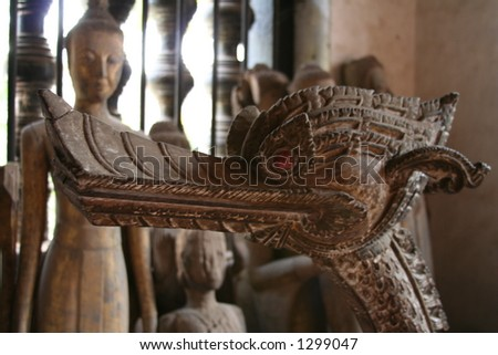 Statues in a Buddhist temple, Laos, South East Asia