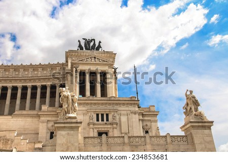 Statues in a monument to Victor Emmanuel II. Piazza Venezia, Rome , Italy - stock photo
