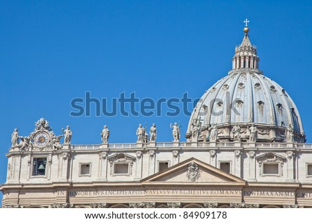 Statues in St. Peter Square (Rome, Italy) with blue sky background - stock photo