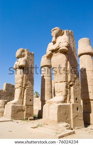 Statues in the ancient temple. Luxor. Egypt