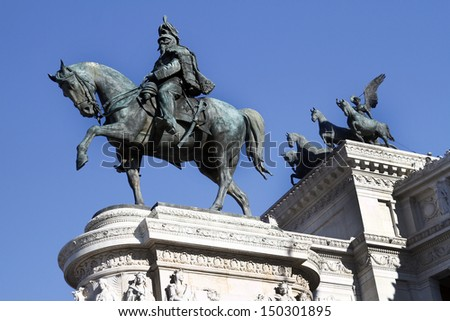 Statues in the Monument of Victor Emmanuel II, located in Rome, Italy - stock photo