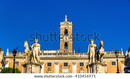 Statues of Dioscures on the Capitoline Hill, Rome, Italy - stock photo