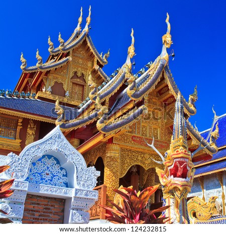 Statues of elephants and lions  wat Ban den Temple  Maetang Chiangmai Thailand - stock photo