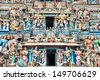 Statues of hindu deities in ancient Kapaleeshwarar Temple, Chennai, Tamil Nadu, India - stock photo