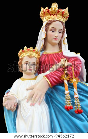 Statues of Holy Women in Roman Catholic Church, Thailand isolated on black background - stock photo