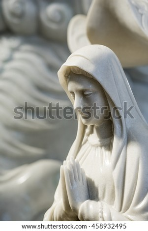 Statues of mary from marble - stock photo