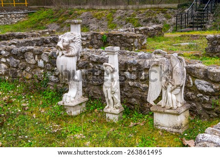Statues of Sanctuary of Zeus Hypsistos, Dion Archeological Site in Greece - stock photo