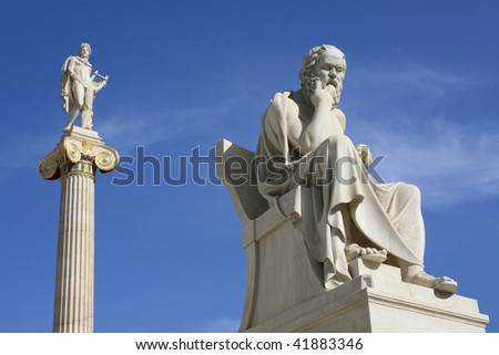 Statues of Socrates and Apollo in Athens, Greece. - stock photo