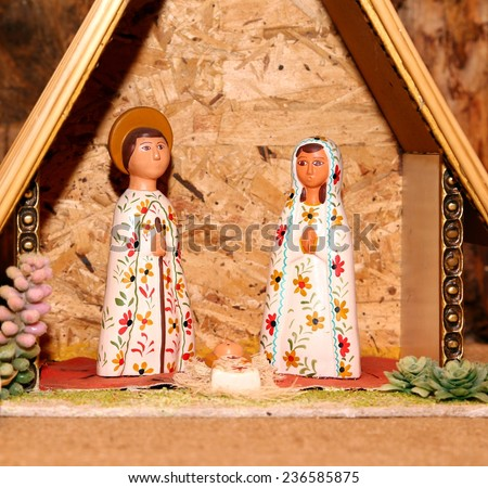 statues of the Nativity scene with Holy Family Mexican style - stock photo