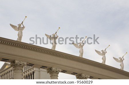 Statues of trumpeting angels at Caesar's Palace Las Vegas, Nevada - stock photo