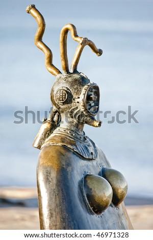 Statues on boardwalk (malecon) Puerto Vallarta, Mexico - stock photo