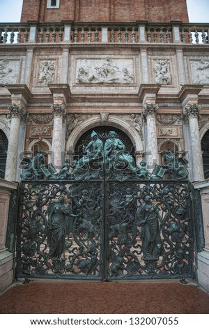 Statues on gate to San Marco Campanile, Venice, Italy