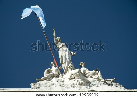 Statues on the top of a building, Buenos Aires, Argentina - stock photo