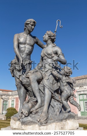 Statues vintage Rococo era. In the park Queluz. - stock photo