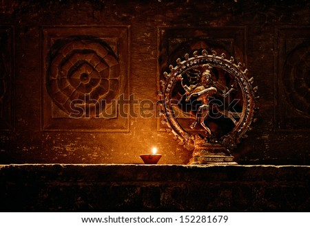 Statuette of the dancing Shiva . India, Udaipur - stock photo