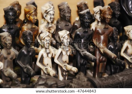 statuettes of Egyptian god Min - God of fertility - stock photo