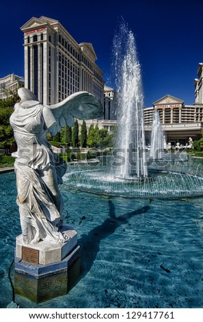 Status and Fountain in Las Vegas - stock photo