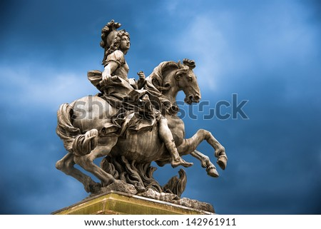 Status of Loius the XVI at versaillies France - stock photo
