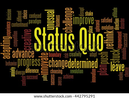 Status Quo, word cloud concept on black background.