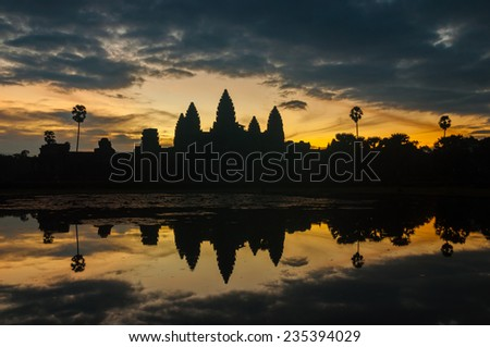 Status silhouette of Angkor Wat temple in sunrise  at Siem Reap, Cambodia.