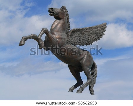 staue representing pegasus, riding through the clouds