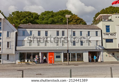 STAVANGER, NORWAY - AUGUST 16, 2014: Building of Stavanger Maritime Museum (former merchant building, circa XIX c.) in historic center of Stavanger, Norway