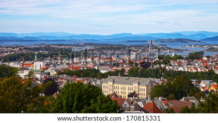 Stavanger, Norway - View of the city from above.  - stock photo