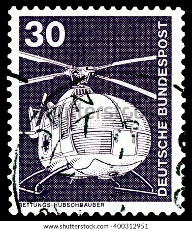 STAVROPOL, RUSSIA - APRIL 04, 2016: a stamp printed by  Germany , shows  helicopter, series Industry and Technology,  circa 1975 - stock photo