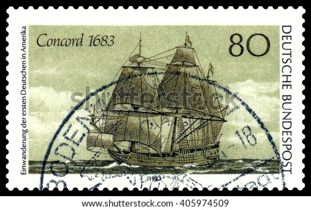 STAVROPOL, RUSSIA - APRIL 05, 2016: a stamp printed by Germany, shows the famous tall ship Concord in 1683 , 300 years of emigration of Germans in the United States , circa 1983 . - stock photo