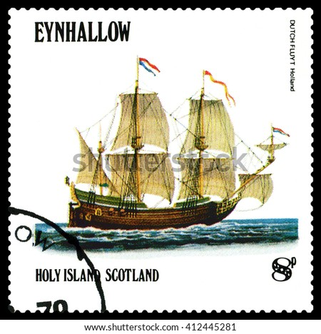 STAVROPOL, RUSSIA - APRIL 09, 2016: a stamp printed by Scotland, shows  old Sailing ship  Dutchfluit  Holland,  circa 1984 . - stock photo