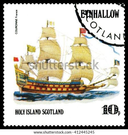 STAVROPOL, RUSSIA - APRIL 09, 2016: a stamp printed by Scotland, shows  old Sailing ship  Couronne France,  circa 1984 . - stock photo