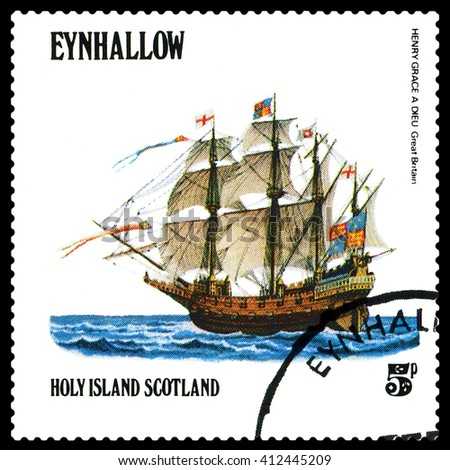 STAVROPOL, RUSSIA - APRIL 09, 2016: a stamp printed by Scotland, shows  old Sailing ship  Henry Grace a Dieu, Great Britain,  circa 1984 . - stock photo