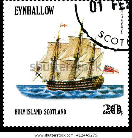 STAVROPOL, RUSSIA - APRIL 09, 2016: a stamp printed by Scotland, shows  old Sailing ship  Victory Great Britain,  circa 1984 . - stock photo