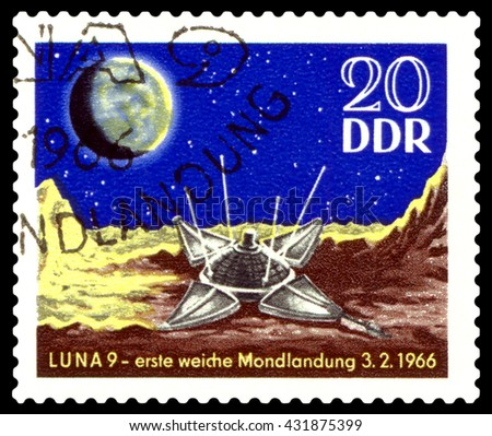 STAVROPOL, RUSSIA - APRIL 30, 2016: a stamp printed  in  GDR  shows Luna 9 on Moon, circa 1984 - stock photo