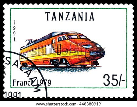 STAVROPOL, RUSSIA - APRIL 03, 2016: A Stamp printed in Tanzania shows  old locomotive,  France 1979,  circa 1991 - stock photo
