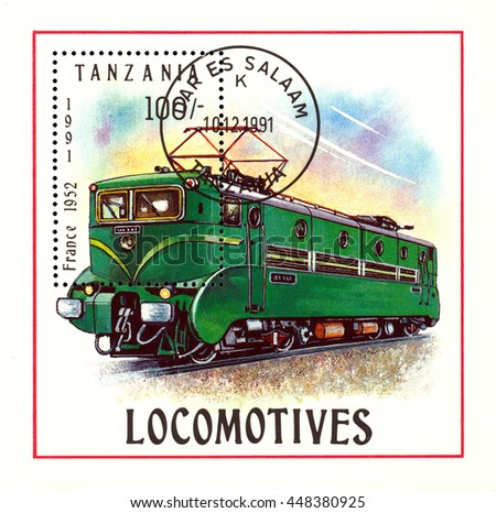 STAVROPOL, RUSSIA - APRIL 03, 2016: A Stamp printed in Tanzania shows  old locomotive,  France 1952,  circa 1991 - stock photo