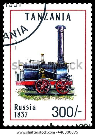 STAVROPOL, RUSSIA - APRIL 03, 2016: A Stamp printed in Tanzania shows  old locomotive,  Russia 1837,  circa 1991 - stock photo