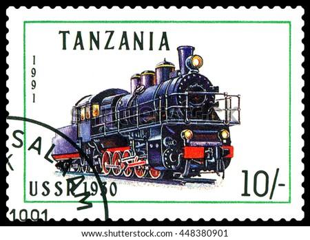 STAVROPOL, RUSSIA - APRIL 03, 2016: A Stamp printed in Tanzania shows  old locomotive,   USSR 1930,  circa 1991 - stock photo