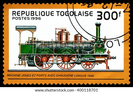 STAVROPOL, RUSSIA - APRIL 03, 2016: A Stamp printed in the  Togo  shows  old locomotive Jones and Ports 1848,  circa 1996 - stock photo
