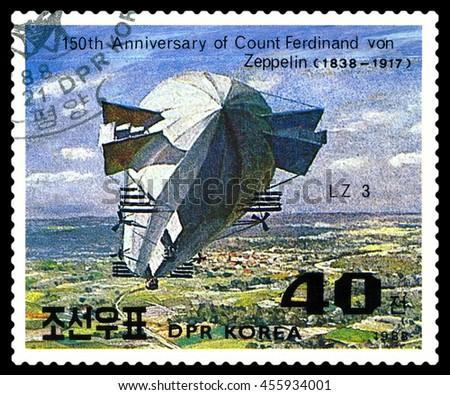 STAVROPOL, RUSSIA - JULY 19, 2016:  a stamp printed in  DPR Korea  shows  Airship LZ-3 , Ferdinand Von Zeppelin, series, cirka 1988 - stock photo