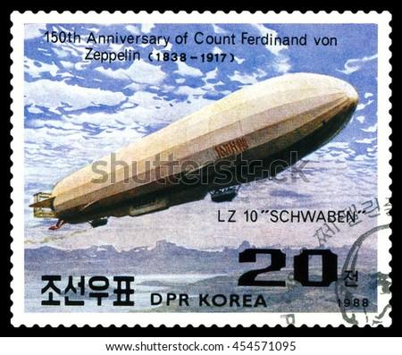 STAVROPOL, RUSSIA - JULY 19, 2016:  a stamp printed in  DPR Korea  shows  Airship LZ-10 Schwaben, Ferdinand Von Zeppelin, series, cirka 1988 - stock photo