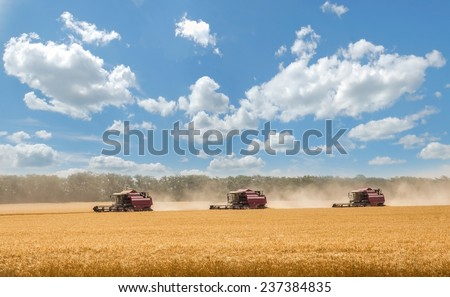 STAVROPOL, RUSSIA - JULY 12: Combine harvesting grain near Stavropol, Russia on July 12, 2014. - stock photo